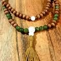 Jade & White Lava 108 Bead Mala Necklace