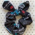 Large AFL Port Adelaide - bunny ear bow - scrunchies - women - children