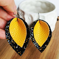 Leaf layered earrings, mustard yellow, black sparkle, Leather, faux leather, tea