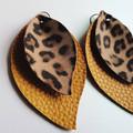 Leaf layered earrings, leopard print, mustard yellow, boho, tear drop, gift, sta