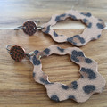 Leopard printleather dangles for sensitive ears