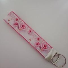 Pink rose print key fob wristlet
