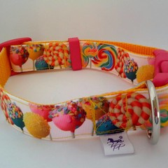 Candy print adjustable dog collar medium