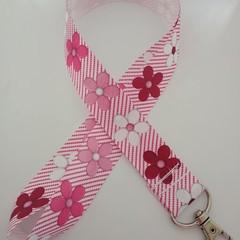 Pink ribbon / flower cancer support lanyard / ID holder / badge holder