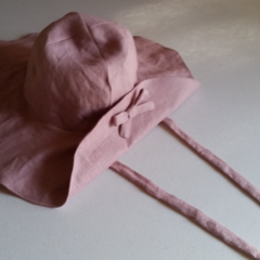 Linen sun hat, wide brim hat, floppy hat, Linen beach hat - Dusty Pink