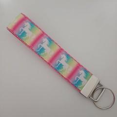 Unicorn rainbow key fob wristlet