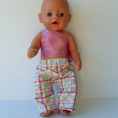 Doll clothes for Baby Born doll Stretch Dance  top  and Pants set