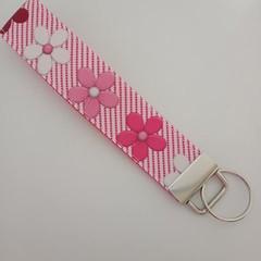 Pink ribbon flower / cancer support key fob wristlet