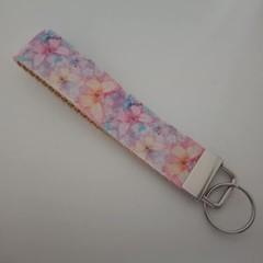 Pastel butterfly print key fob wristlet