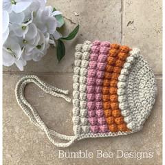 Crochet Baby Bobble Bonnet,  Organic Australian Wool, 6-12 months