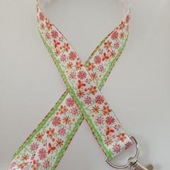 Pinwheel flower print lanyard / ID holder / badge holder
