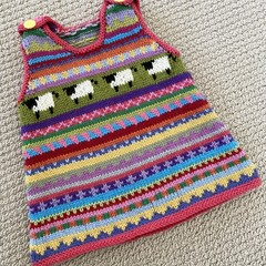 Pink Sheep' Pinafore - size 6 months - hand knitted in pure wool