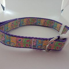 Purple paisley print adjustable dog collars small / mediuim