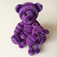 Two Purple Little Bears Crocheted - Toys - Amigurumi