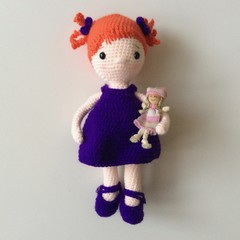 Red Haired Doll -Dress, Shoes,  Pants and her own little Doll - Toy - Amigurumi