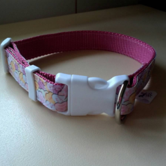Pink candy heart print adjustable dog collars medium / large