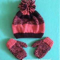Children Knitted Beanie & Mitten Set