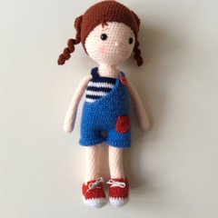 Crocheted Doll with Pigtails in Overalls - Toy - Amigurumi