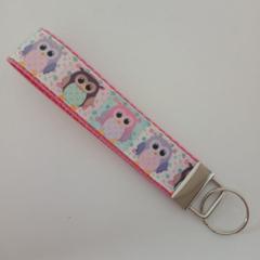 Pastel print owl key fob wristlet