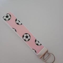 Pink soccer ball / women's soccer key fob wristlet