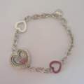 Silver heart floating charm bracelet