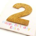 Any Age Glitter Birthday Card, Personalised, Custom Made Handmade Birthday Card