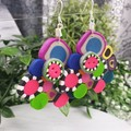 Bubble Pop Color Explosion Pyramid Dangle earrings - Handcrafted dangle earrings