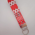 Red white and black lady bird key fob wristlet