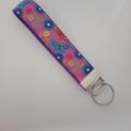 Purple butterfly key fob wristlet