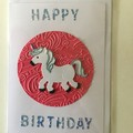 Happy birthday unicorn card.