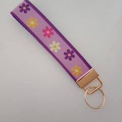 Purple flower key fob wristlet