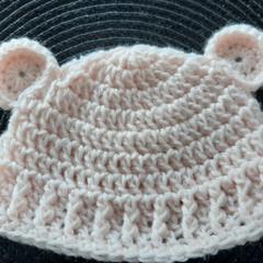 Baby girls crochet bear hat Size Newborn to 3 months FREE POSTAGE