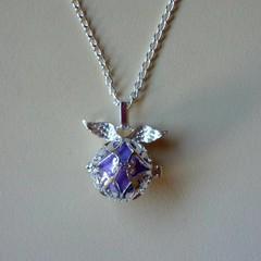 Silver purple harmony ball pendant necklace