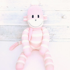 'Pearl' the Sock Monkey - pink, gold & cream stripes - *MADE TO ORDER*
