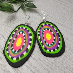 Ziggie Dangle Earrings - Polymer Clay - Large