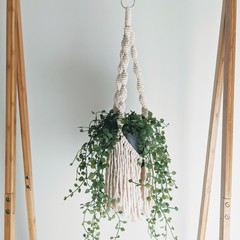 Macrame plant hanger with fringing