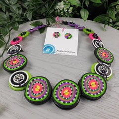 Ziggie - Necklace Buttons and Polymer - Jewellery - Earrings