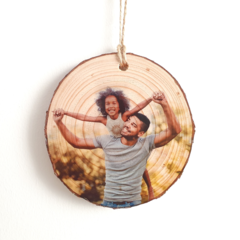 Personalised Rustic Wood Slice Photo Ornaments