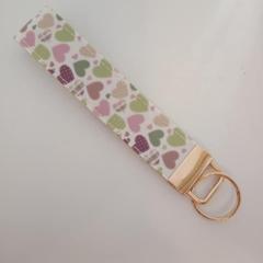 Purple and green love heart print key fob wristlet