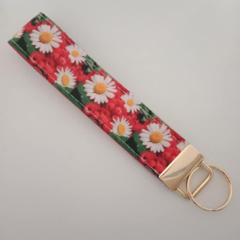 Red and white flower key fob wristlet