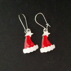 Red and silver Santa Claus hat charm earrings