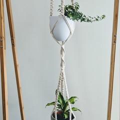 Macrame double plant hanger , extra long