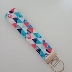 Red white and blue tropical print triangle key fob wristlet