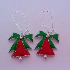 Red Christmas jingle bell earrings