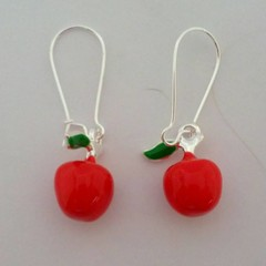 Red apple charm silver earrings