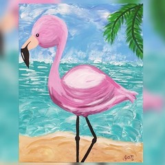 Flo Flamingo Acrylic Painting