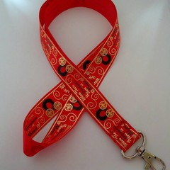 Red black and gold fairy tale / fantasy lanyard / ID holder / badge holder