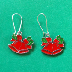 Red and green Christmas bell earrings