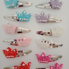 Princess crown silver snap hair clips