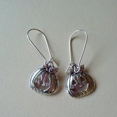Silver pumpkin / Halloween earrings